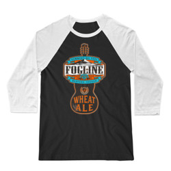FOGLINE - WHEAT ALE - Premium Unisex 3/4 Sleeve Baseball Tee - Black/White