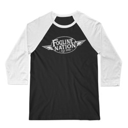 FOGLINE - WINGS - Premium Unisex 3/4 Sleeve Baseball Tee - Black/White