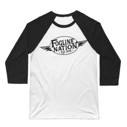 FOGLINE - WINGS - Premium Unisex 3/4 Sleeve Baseball Tee - White/Black